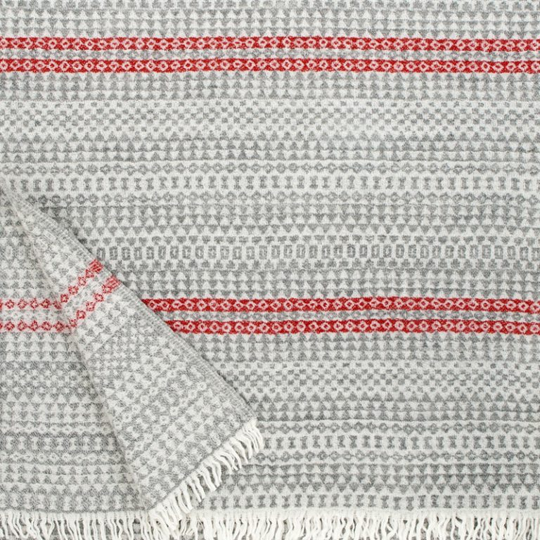 Aino blanket in Grey & Red