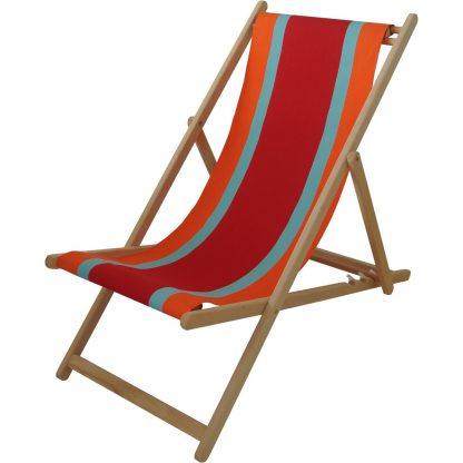 Deck chair with Deauville fabric in Rouge/Orange