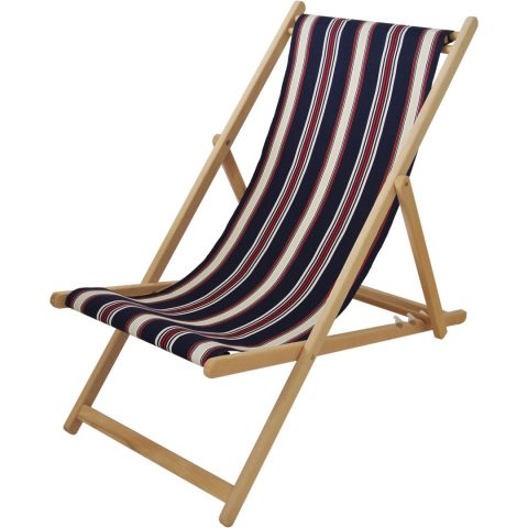 Deck chair with Les Sables d'Olonne fabric in Marine/Écru