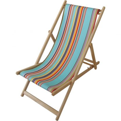 Deck chair with Parasol fabric in Turquoise/Blanc