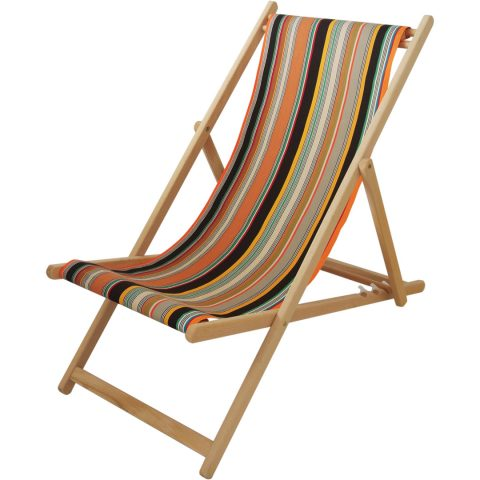 Deck chair with Safari fabric in Marron/Écru