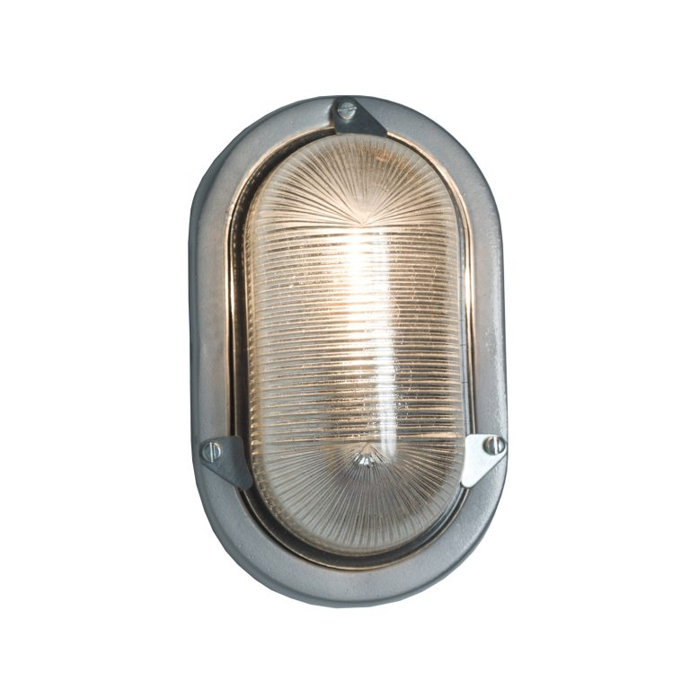 Oval aluminium bulkhead light, unpainted, E27 screwfit bulb (DP7001.AL_.E27)