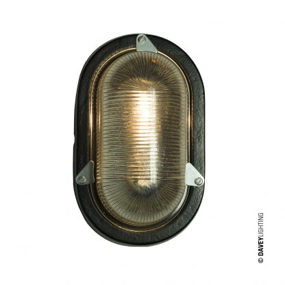 Oval aluminium bulkhead light, black painted, E27 screwfit bulb (DP7001.BL_.E27)