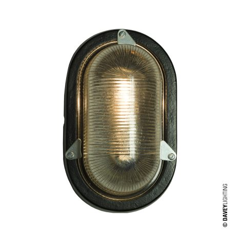 Oval aluminium bulkhead light, black painted, compact fluorescent bulb (DP7001.BL_.G24)