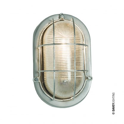 Oval aluminium bulkhead light with wire guard, unpainted (DP7003.AL.G24)