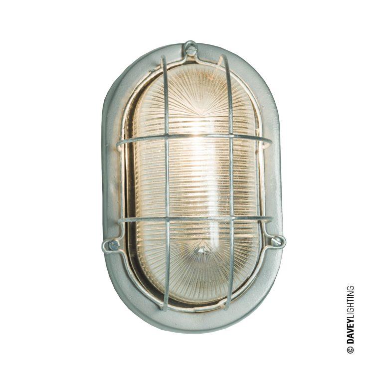 Oval aluminium bulkhead light with wire guard, unpainted (DP7003.AL.G24)