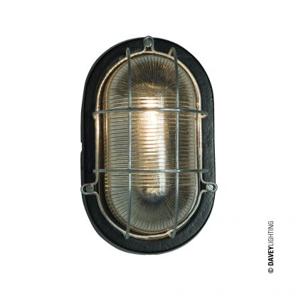 Oval aluminium bulkhead light with wire guard in black (DP7003.BL.E27)