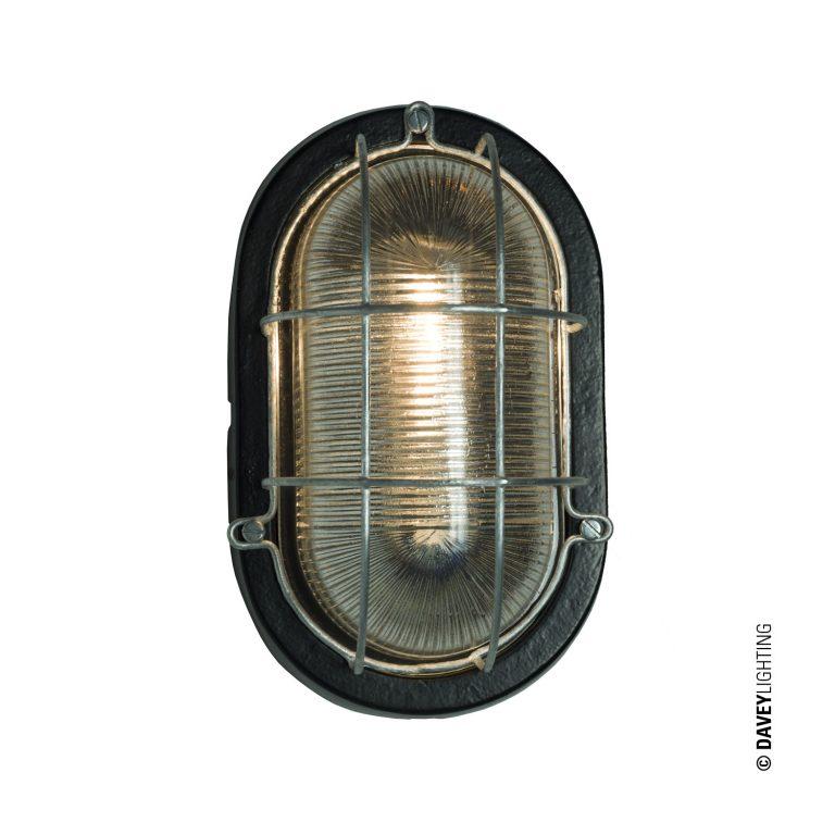 Oval aluminium bulkhead light with wire guard in black (DP7003.BL.E27)