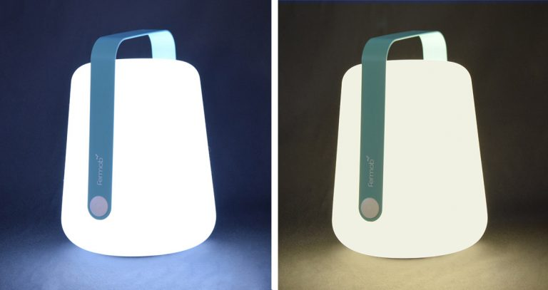 Balad lamps showing different colour temperatures; left: cool-white, right: warm-white