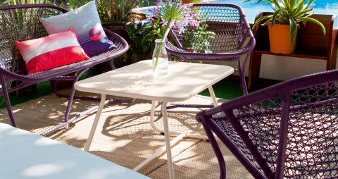 Sixties armchair, Sixties bench in Plum, Sixties table in Cotton White