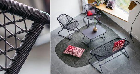 Sixties armchair, Sixties bench, Sixties table in Plum