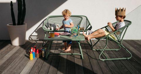 Sixties armchair, Sixties bench, Sixties table in Cactus