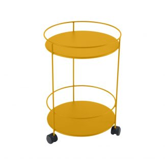 Guinguette wheeled side table in Honey