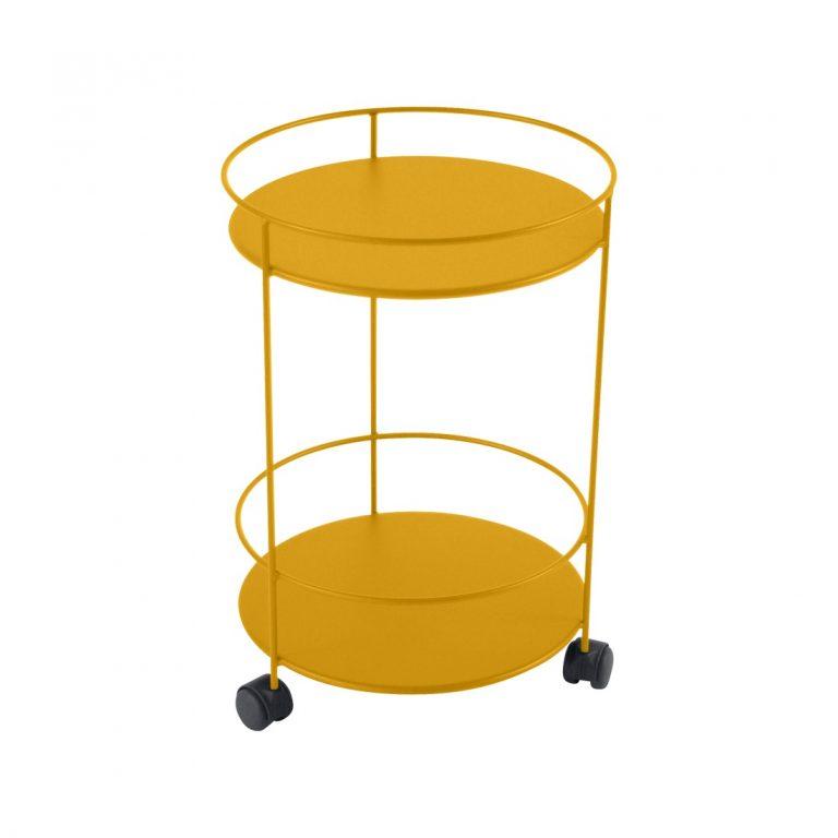 Guinguette wheeled side table in Honey