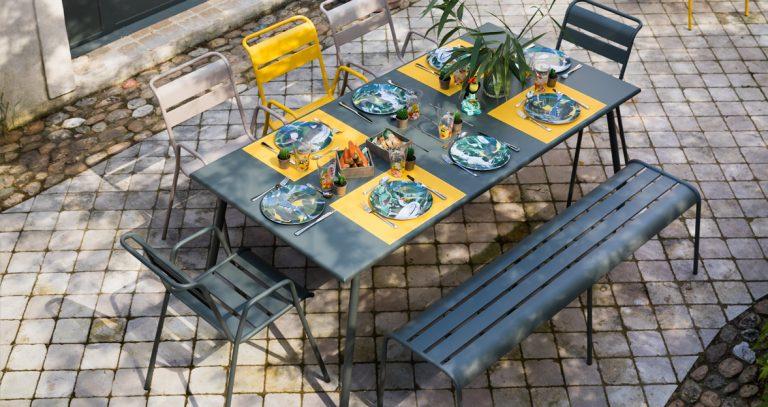 Monceau large table, Monceau armchair, Monceau Bench XL