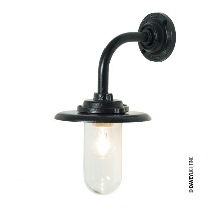 Exterior bracket light, black painted, clear glass