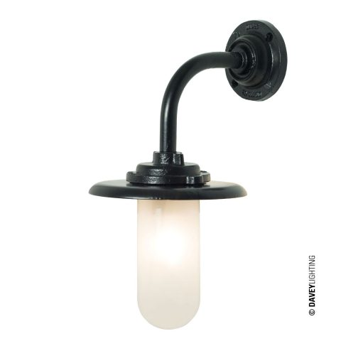 Exterior bracket light, black painted, frosted glass