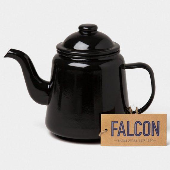 Enamel teapot by Falcon Enamelware in Coal Black