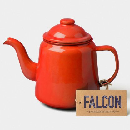 Enamel teapot by Falcon Enamelware in Pillarbox Red
