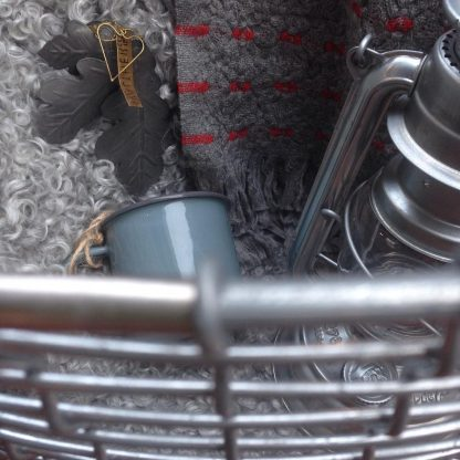 Korbo basket, enamel mug, Fueurhand lantern, Gotland sheepskin, Viima blanket