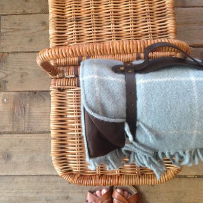 Picnic blanket in Windowpane Duck Egg