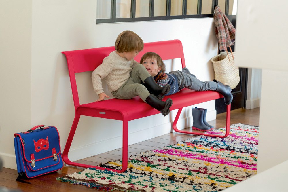 Bellevie bench with back in Pink Praline