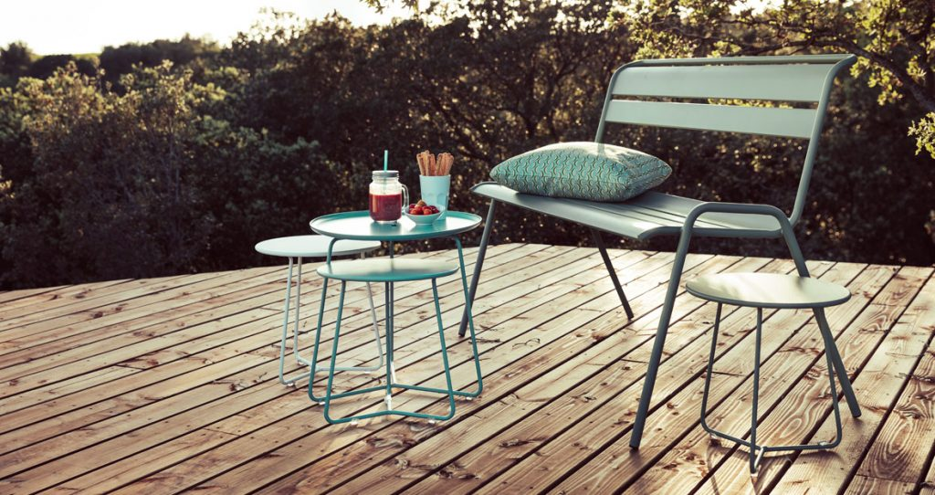 Cocotte footstool occasional table, Cocotte low table and Monceau bench in Turquoise and Cactus.  Garden furniture for a small space.