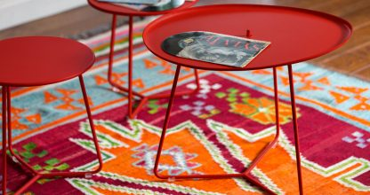 Cocotte low table and Cocotte footstool occasional table in Poppy