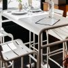 Luxembourg high chairs and Luxembourg high table in Cotton White