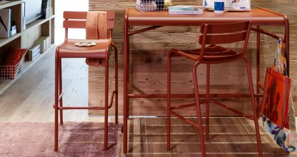 Luxembourg high chairs and Luxembourg high table in Red Ochre