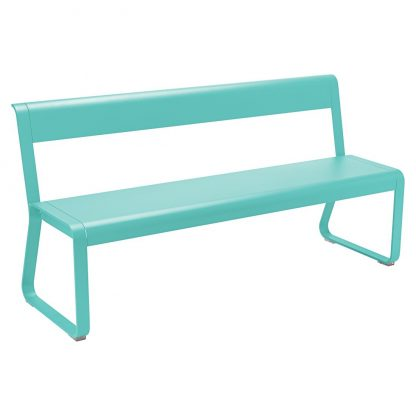 Bellevie bench with backrest in Lagoon Blue