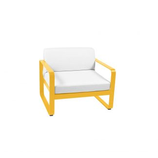 Bellevie armchair in Honey, with Off White cushions
