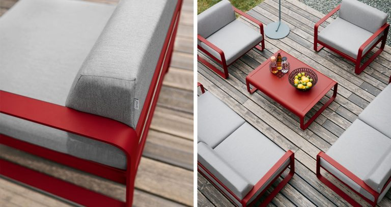 Bellevie two seat sofas, armchairs and low table in Chili with Flannel Grey cushions