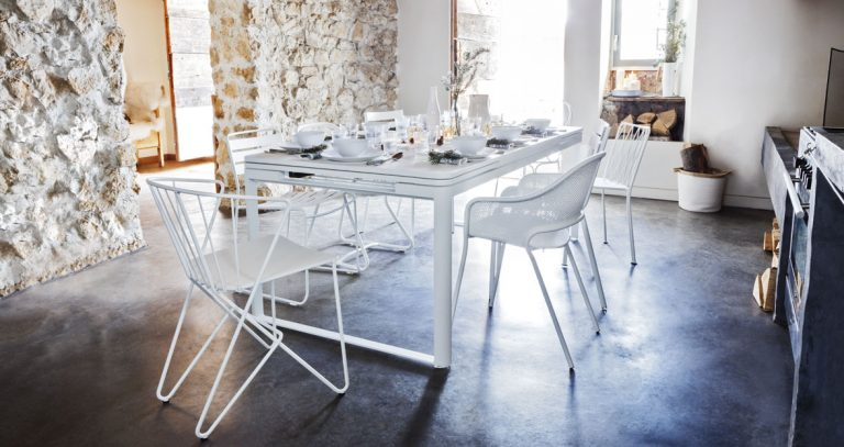 Biarritz table, with Flower chair (front), Rendez-vouz chair (mid-right), Kintbury chair (right), Surprising chair (back-left), all in Cotton White