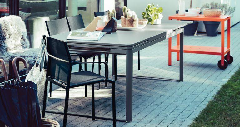 Biarritz table, Cadiz armchairs, Luxembourg drinks trolley