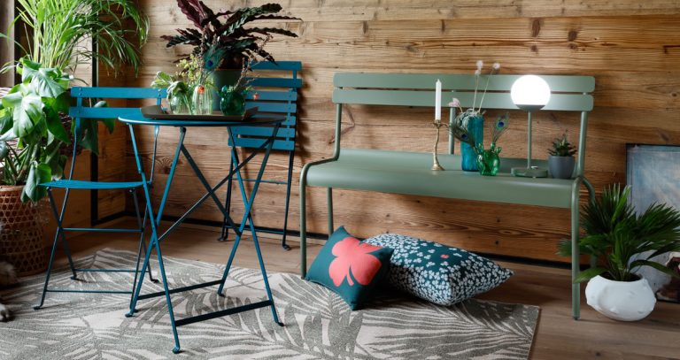 Bistro chair and Bistro table 60 cm in Acapulco Blue, Luxembourg bench with back in Cactus