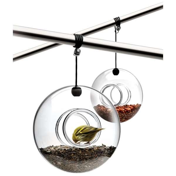 Round glass bird feeder
