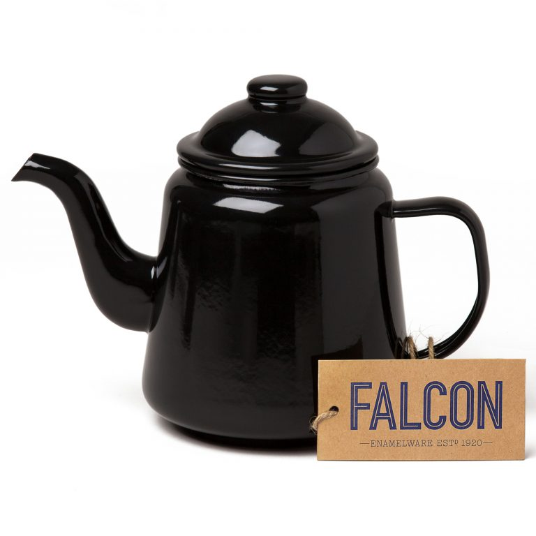 Falcon enamel teapot in Coal Black