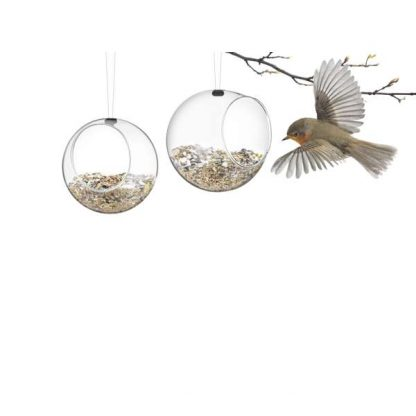 Pair of small glass bird feeders