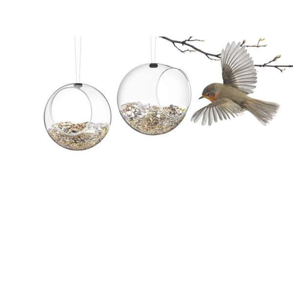 Pair of small glass bird feeders
