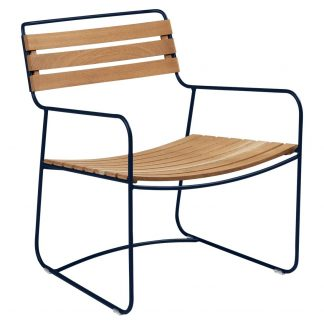 Surprising Teak low chair in Deep Blue