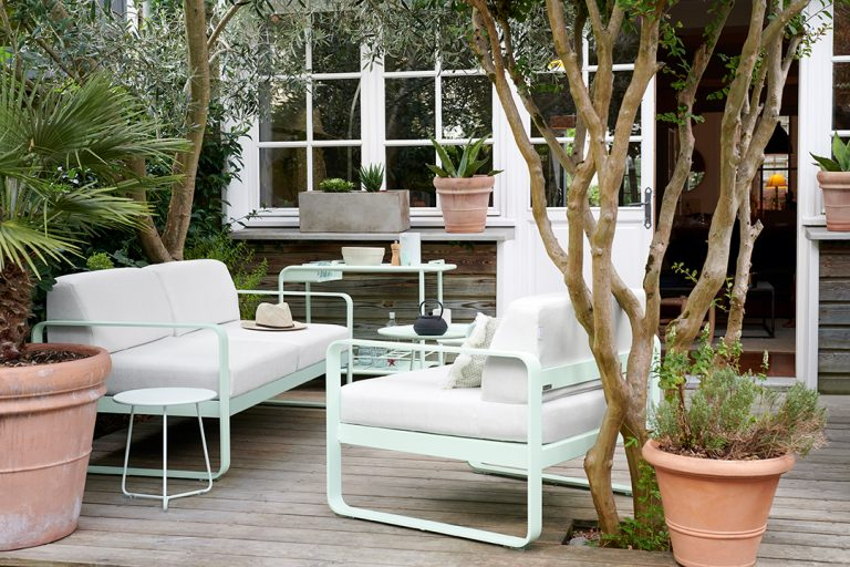 Bellevie sofa and armchair, Cocotte side table and Luxembourg drinks trolley in Ice Mint