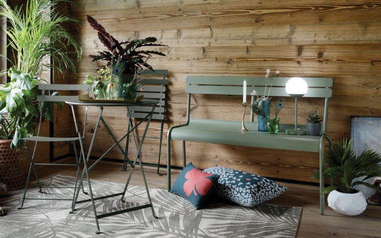Lucembourg bench, Mooon! lamp, Bistro chairs and table, all in Cactus