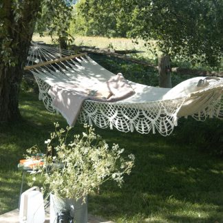 Fringed cotton hammock