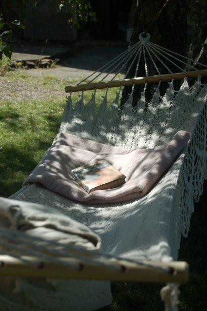 Fringed cotton hammock