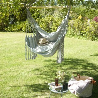 Cotton and denim hanging chair