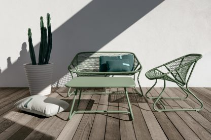 Sixties armchair, bench and low table, all in Cactus