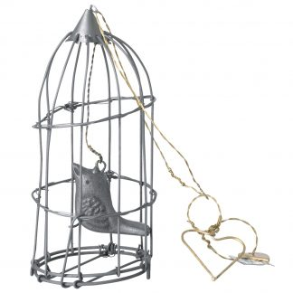Zinc bird cage with tiny bird