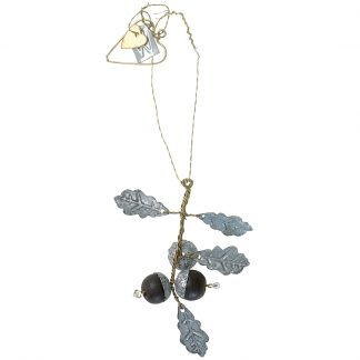 Hanging zinc oak leaves with acorns