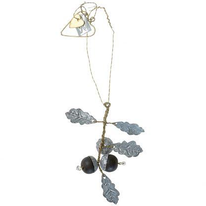 Hanging zinc oak leaves with acorns